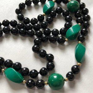 Vintage Black Onyx, Malachite & 10k Gold Necklace